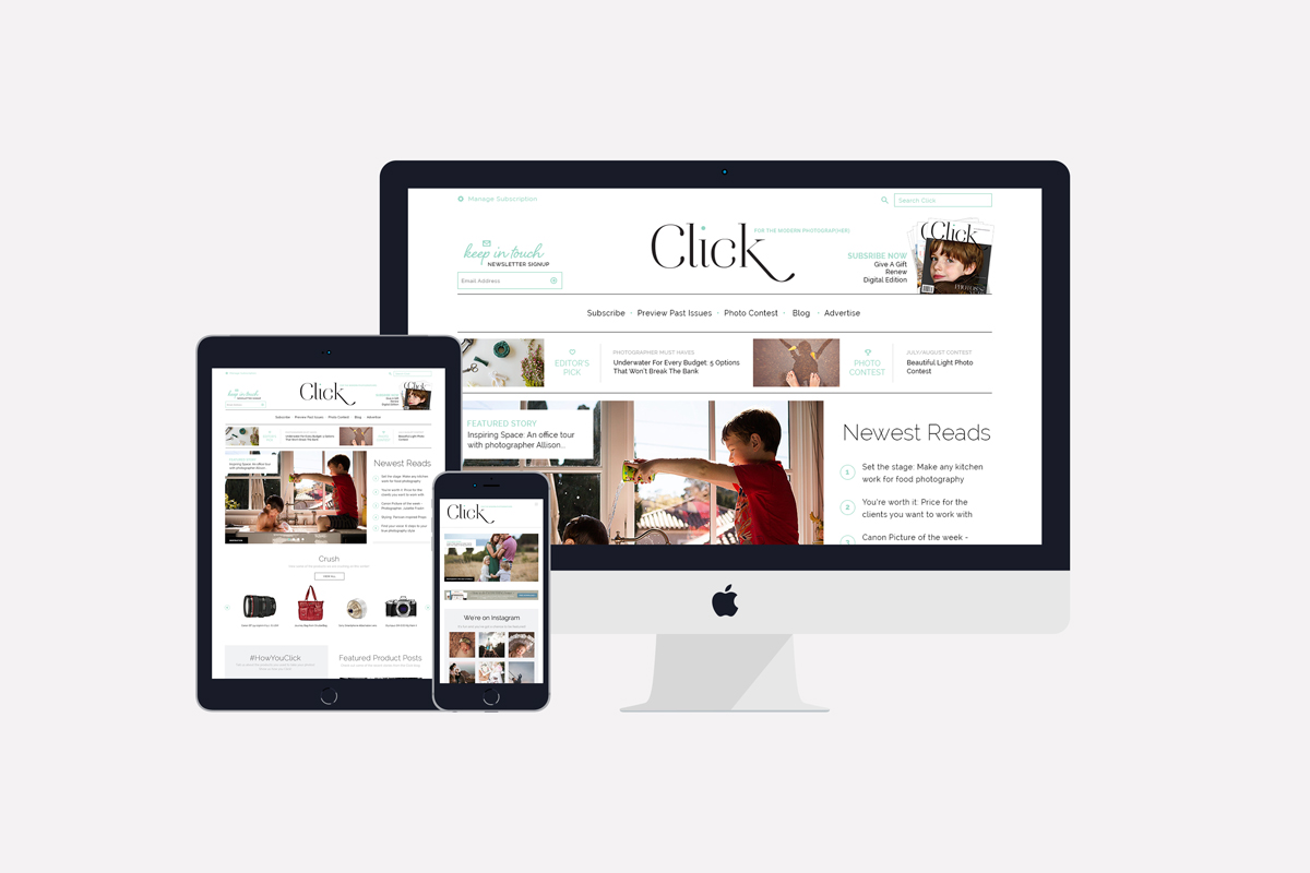 Click Magazine Site Design by Joanna Dee Studio