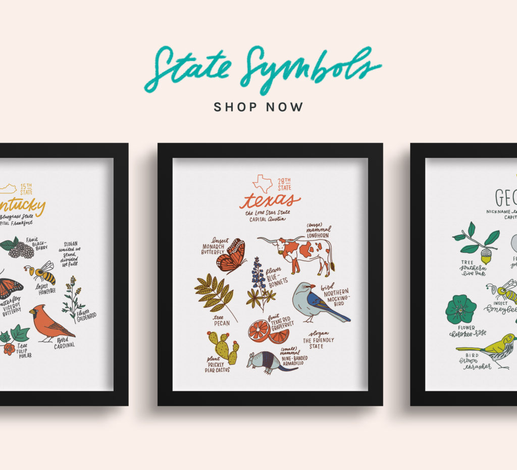 State Symbols Prints by Joanna Dee