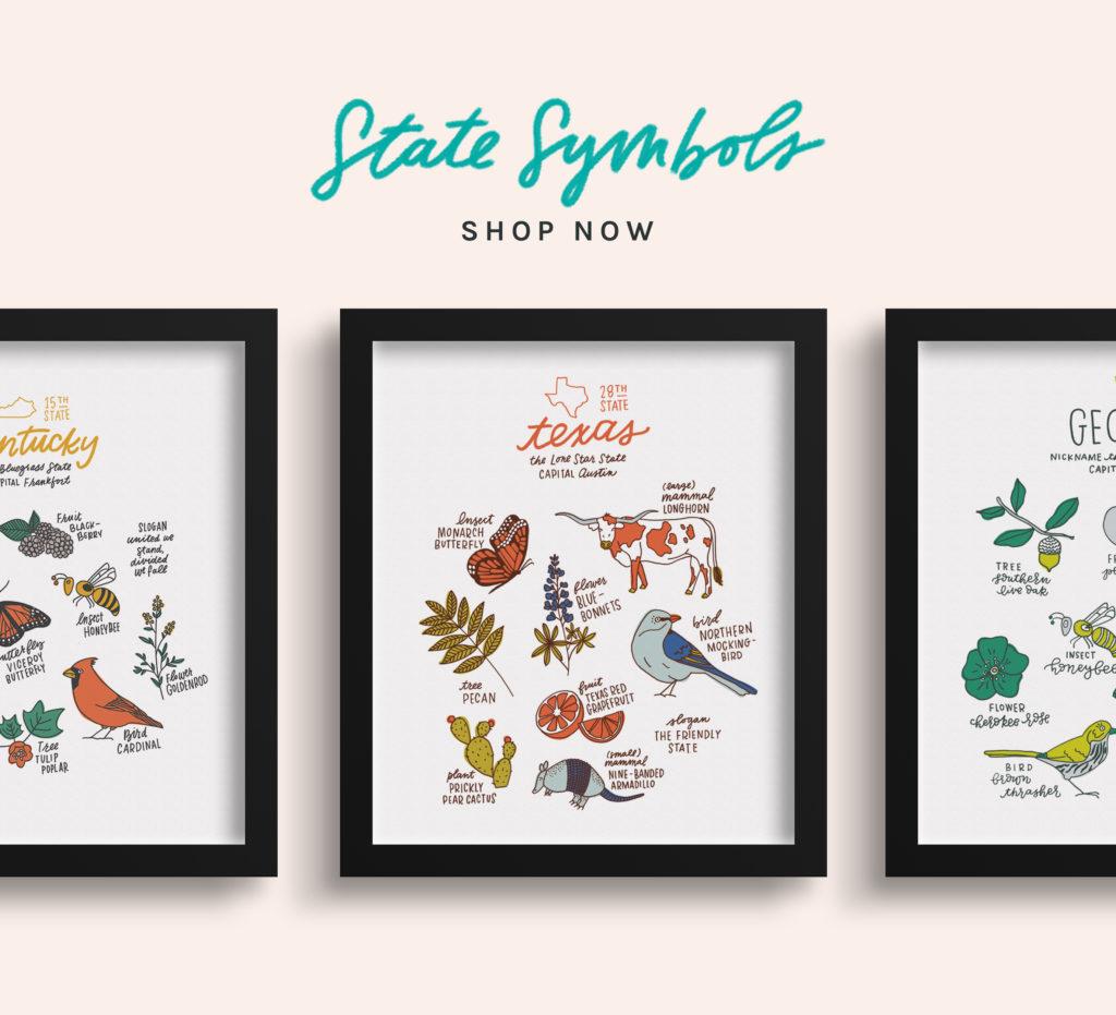 State Symbols Prints by Joanna Dee